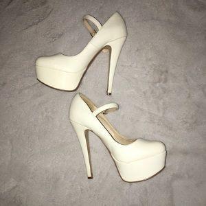 White Mary Jane Platform High Heels 4 inch